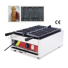 Ggayke waffle hotdog machine commercial gayke shaped cake maker stainless steel with 8 pcs gayke waffle moulds Taiwan style