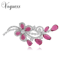 VOGUESS Crystal Flower Brooch High Grade Wedding Dress Leaf Brooches Red/ Blue/Green Zircon Rhinestone Brooches for Women
