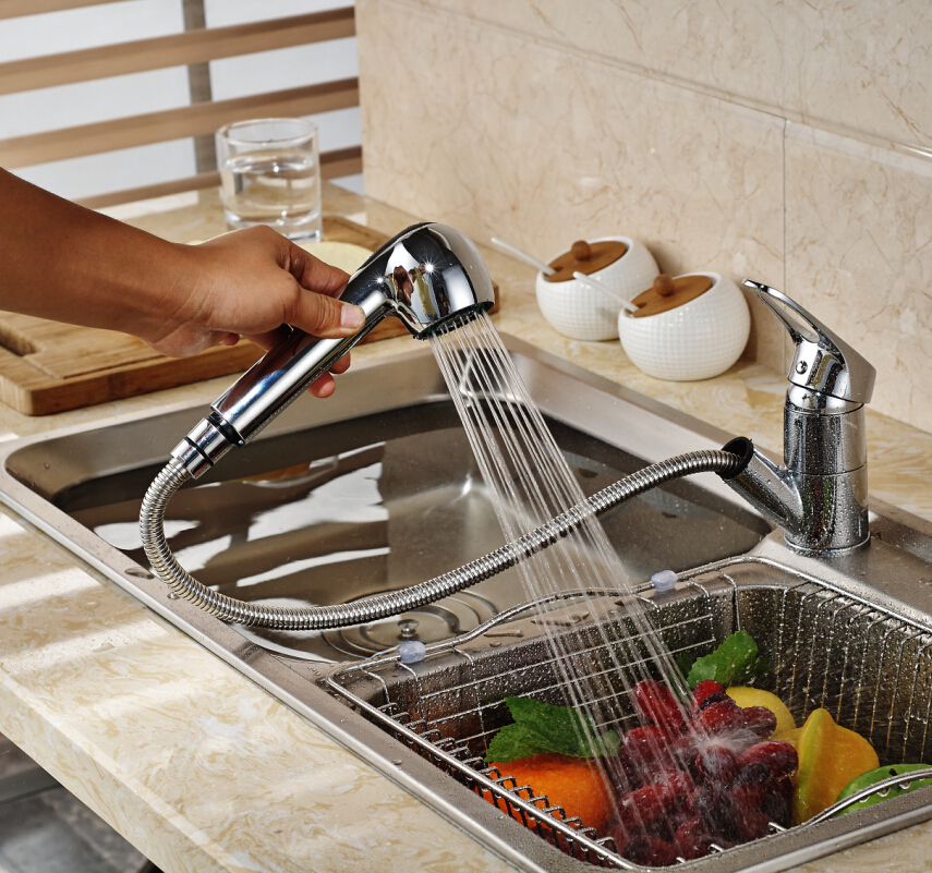 Luxury Deck Mounted Dual Spout Pull Out Kitchen Sink Faucet Single Hole Hot and Cold Water Mixer Taps Chrome luxury pull out kitchen faucet deck mounted vessel sink mixer tap single handle hole hot and cold water