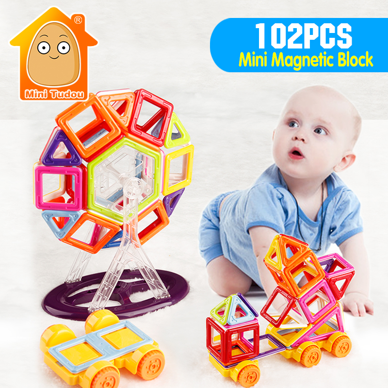 ФОТО MiniTudou New 102PCS Mini Magnetic Designer Construction Building Blocks Brick Technics Learning Educational Toys For Kids Gift