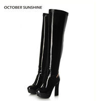 OCTOBER SUNSHINE sexy high heel platform Over the Knee boots for women women's slim tight stretch boots Gold / Silver / Black
