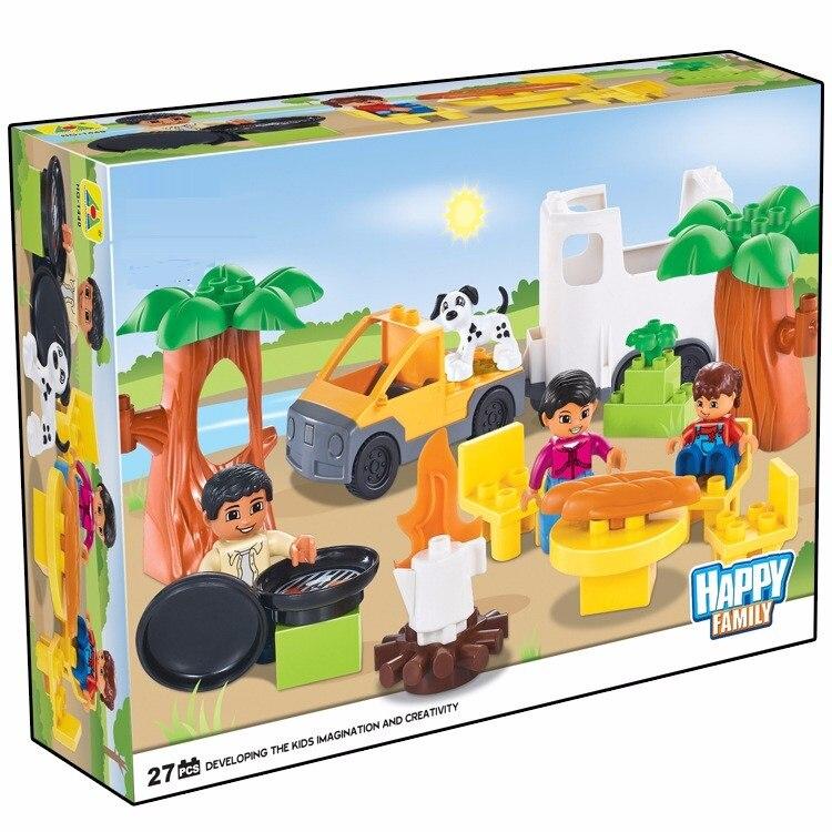 ФОТО 27pcs family lepin duplo figures house building blocks set lepin compatible lepin duplo zoo/train education original toy