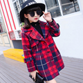 Trench Coat Girls 2016 Fashion Long Style Outdoor Jacket kids Loose Black Girls Outerwear Cotton Plaid Autumn Jacket For Girls