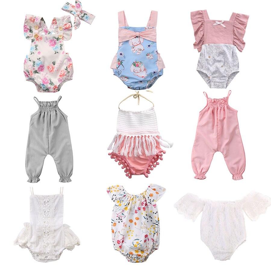 Pudcoco venda quente bebê recém-nascido infantil meninas macacão floral flor borla roupas do bebê meninas verão trajes do bebê