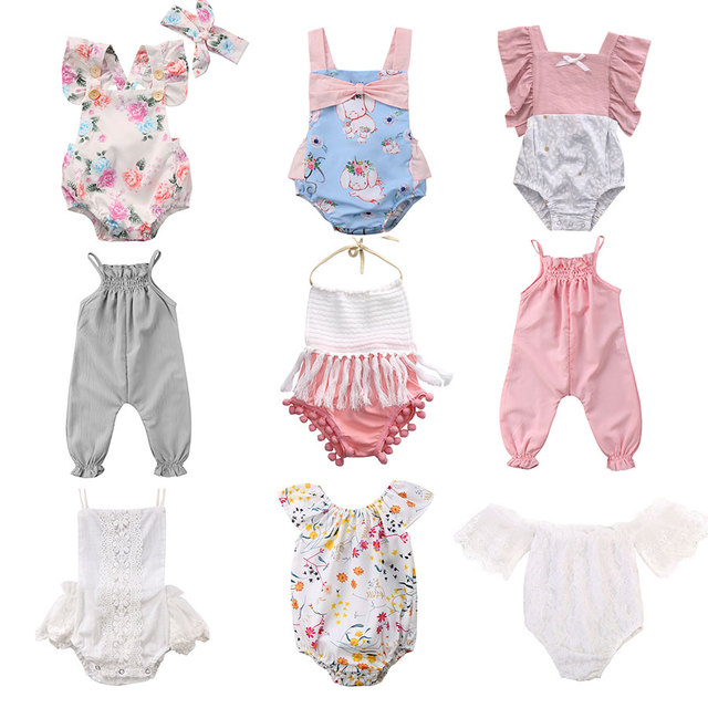 0029305c83f93 Pudcoco Hot Sale Newborn Infant Baby Girls Floral Rompers Flower Tassel  Baby Girls Clothing Summer Baby Costumes