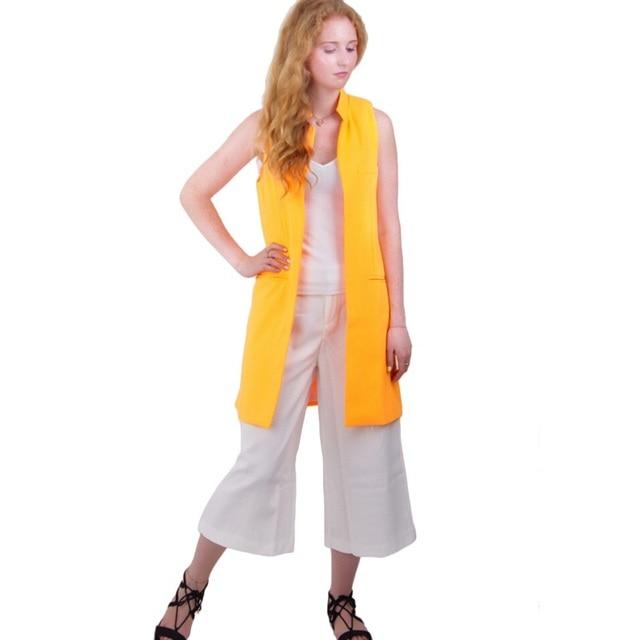 Mujeres blanco negro chaleco largo abrigo estilo de Europen chaleco chaqueta sin mangas volver dividir outwear casual top Roupa Femenina