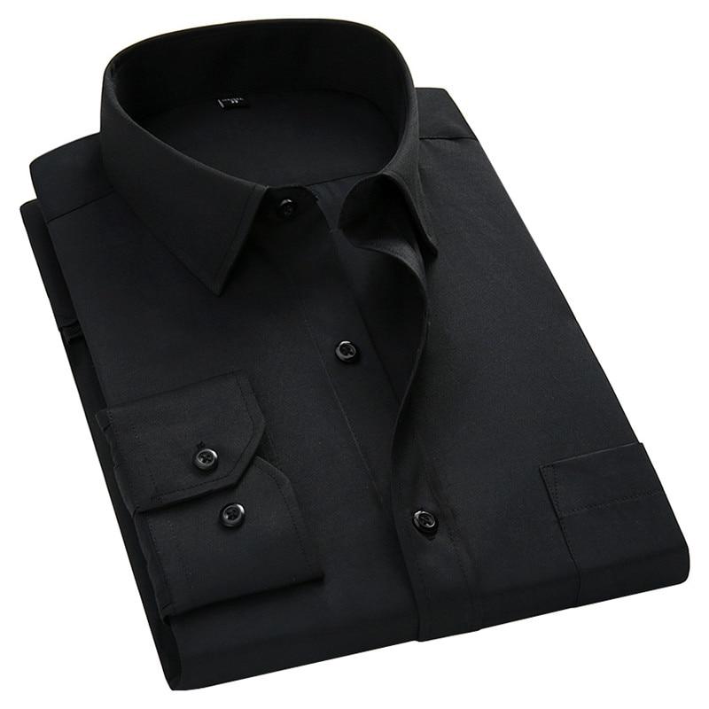 Plus Large Size 8XL 7XL 6XL 5XL Mens Business Casual Long Sleeved Shirt Classic White Black Dark Blue Male Social Dress Shirts 5