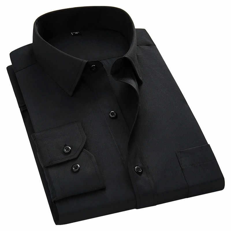 Большие размеры 8XL 7XL 6XL 5XL мужские деловые повседневные рубашки с длинными рукавами классические белые черные темно-синие мужские рубашки