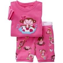 Pink Monkey Girl Clothes Suit Summer Baby Girls T-Shirts Pants Cotton Sailor Outfits Tee Shirt Panties 2Pcs Beach Sport Suits 2-