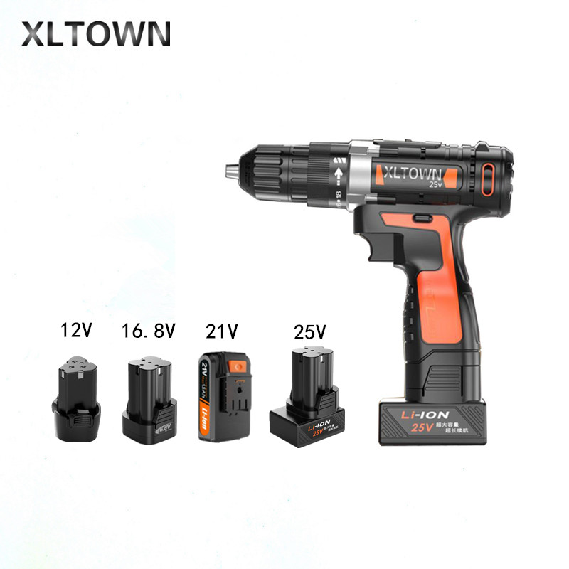 Xltown New lithium Electric drill 12/16.8/21/25v rechargeable lithium battery electric screwdriver with 2 battery power tools xltown new 21v rechargeable lithium battery electric screwdriver with 2 battery high quality electric drill tools free shipping