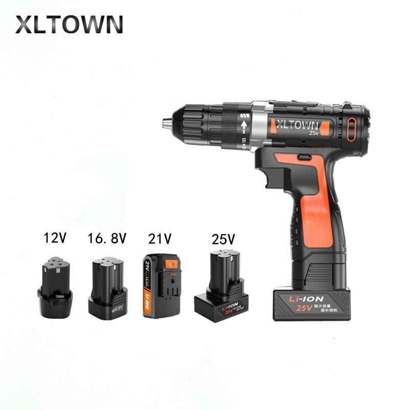 Xltown Nuovo litio trapano Elettrico 12/16. 8/21/25 v batteria al litio ricaricabile cacciavite elettrico con 2 batteria utensili elettrici