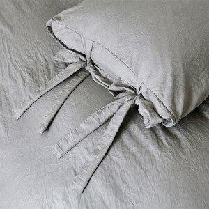 Image 4 - Funda de edredón gris de estilo moderno y Simple, juego de cama con lazo, suave y sedoso, transpirable, de lino, Queen y King