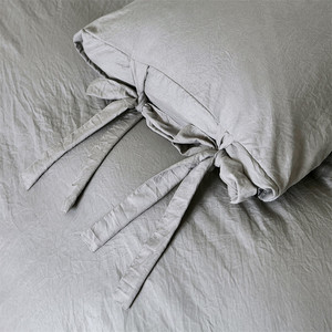 Image 4 - Modern Simple Style Gray Duvet Cover Cute Bowknot Bedding Set Silky Soft Breathable Bed Linen Twin Queen King