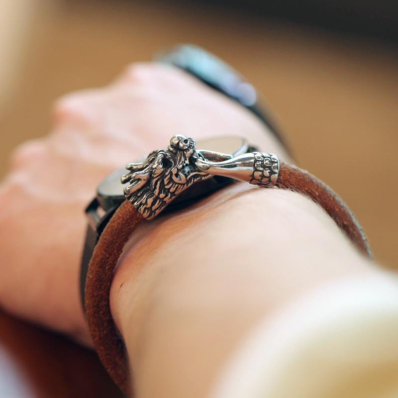 Magic Fish New bracelet men brown cowhide geniune leather titanium steel Faucet bracelets & bangles pendientes keychain piercing