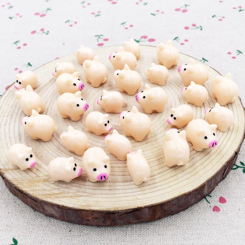 10 Pieces Kawaii Mini Resin Pig Fairy Garden Miniatures Terrarium Figurines Gnome Decoration DIY Craft Handmade Accessories