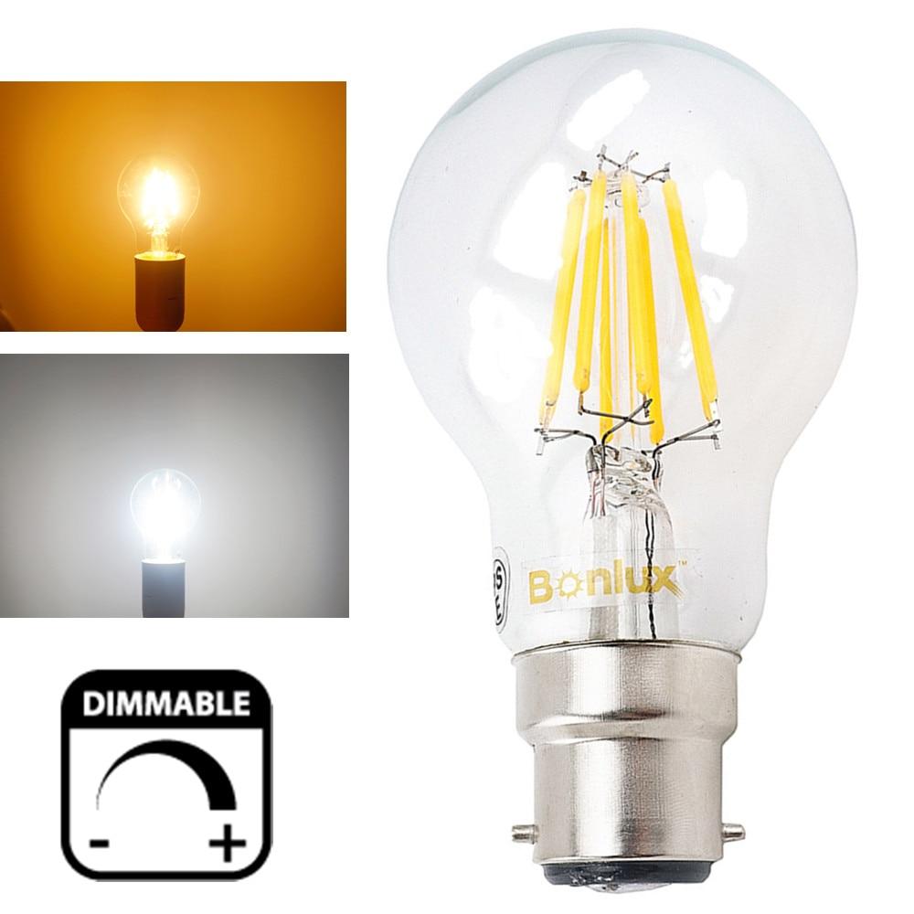 A19 Led Filament Bulb Nostalgic Edison Style 4w To Replace: 4W 8W 220V LED B22 Dimmable Filament Light Bulbs A60/A19