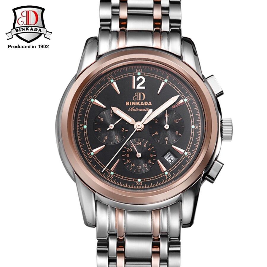 Luxury BINKADA Brand Men Automatic Mechanical Watches Fashion Luminous Dial Calendar 3 Eyes Watch With Box Relogio Masculino цена и фото