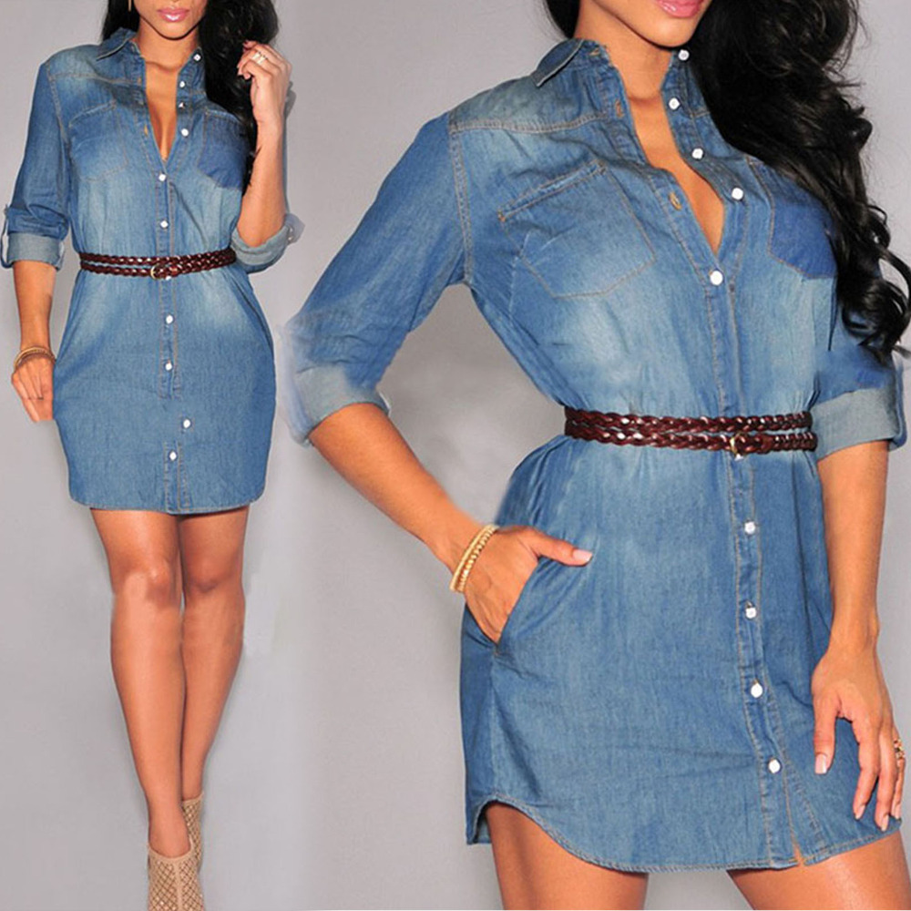 eaf73d43fa37aa Women Long Sleeve Dress Denim Wrap Sexy V Neck Shift Dress Belted Button  Down White Crochet Lace Edge Jean Skater Dresses-in Dresses from Women s  Clothing ...
