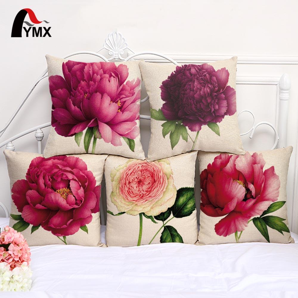 """18 """"Funda de Almohada 3D Rosa Impreso Cojines Funda de Cojín de Lino Funda de Almohada Para la Sala de Estar Cama Habitación Flor Peonía Pequeña fresca"""