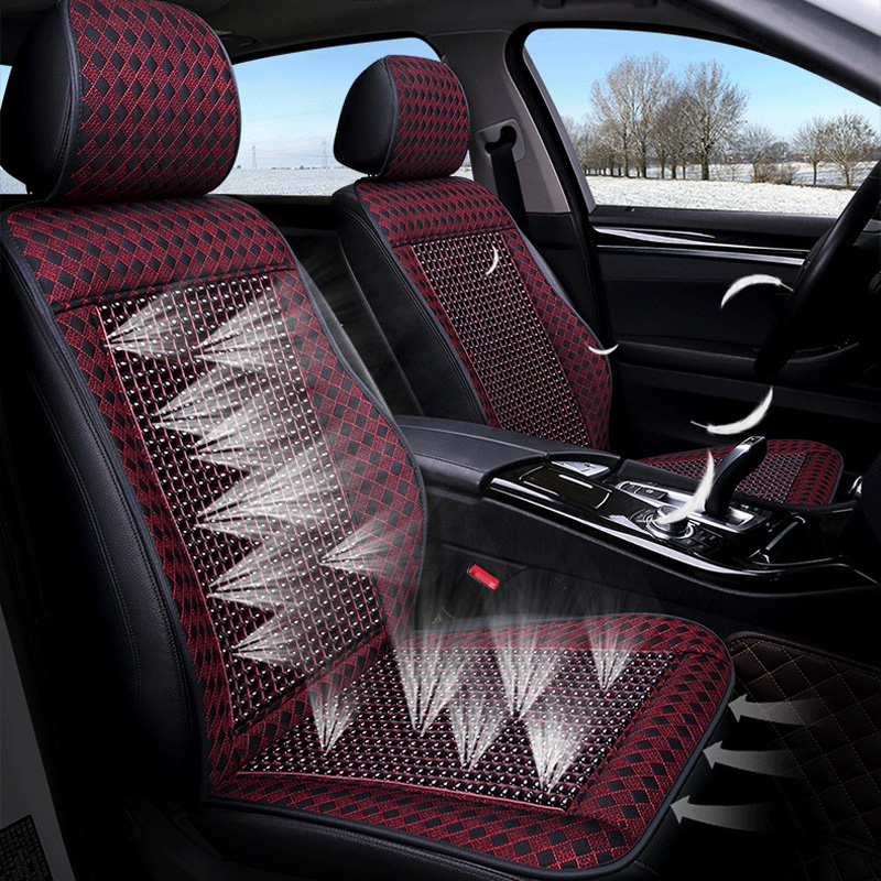 12v pu leather cooling fan beaded car seat covers universal cools car accessories supplies. Black Bedroom Furniture Sets. Home Design Ideas