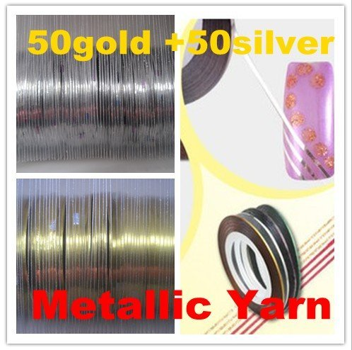 Free shipping-wholesale50 rolls Gold +50 Rolls Silver  Nail Art Tips Striping Tape Decoration Metallic yarn SAJS01