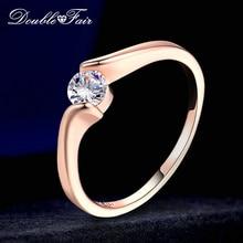 Двойные обручальные кольца с кубическим цирконием для женщин, розовое золото, CZ камень, Женское кольцо, свадебные ювелирные изделия, горячая Распродажа DFR239