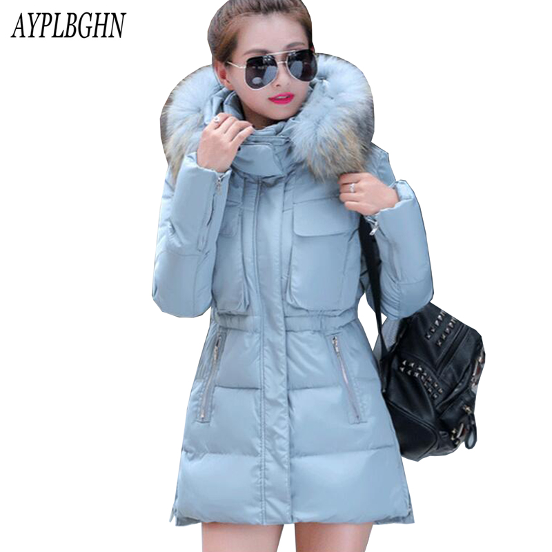 2017 New Hot Women Cotton Coat Plus Size Wadded Winter Jacket Long Parkas Female Fur Collar Thick Warm Hooded Outerwear 5L73 2016 new hot winter thicken warm woman down jacket coat parkas outerwear hooded raccoon fur collar long plus size xxxl slim cold