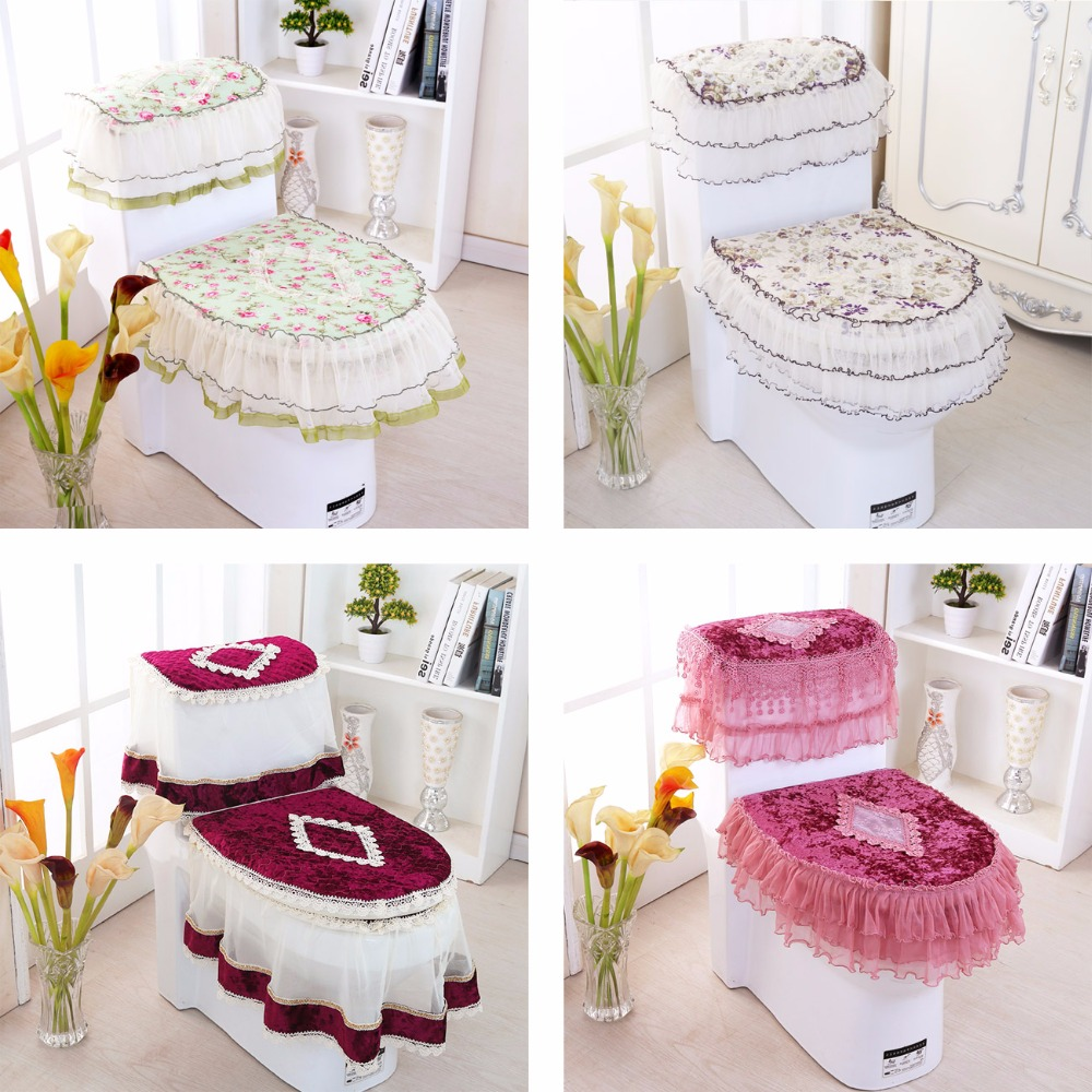 3pcs/set Toilet Seat Cover Zippered Overcoat Toliet Case ...