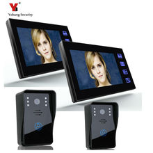Yobang Security Camera Door bell phone Video intercom 7″ Video Door Phone Video Intercom 2 Camera 2 Monitor Doorbell phone