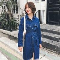 women autumn new Xl 5 XL plus size denim dress female blue single breasted sash pocket long sleeve tassel dress k338