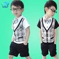 2016 Pop Sale Cotton Boy Baby T-shirt+Short Pants Summer Kids Boys Lattice T-shirt Pants Children's Set Clothing