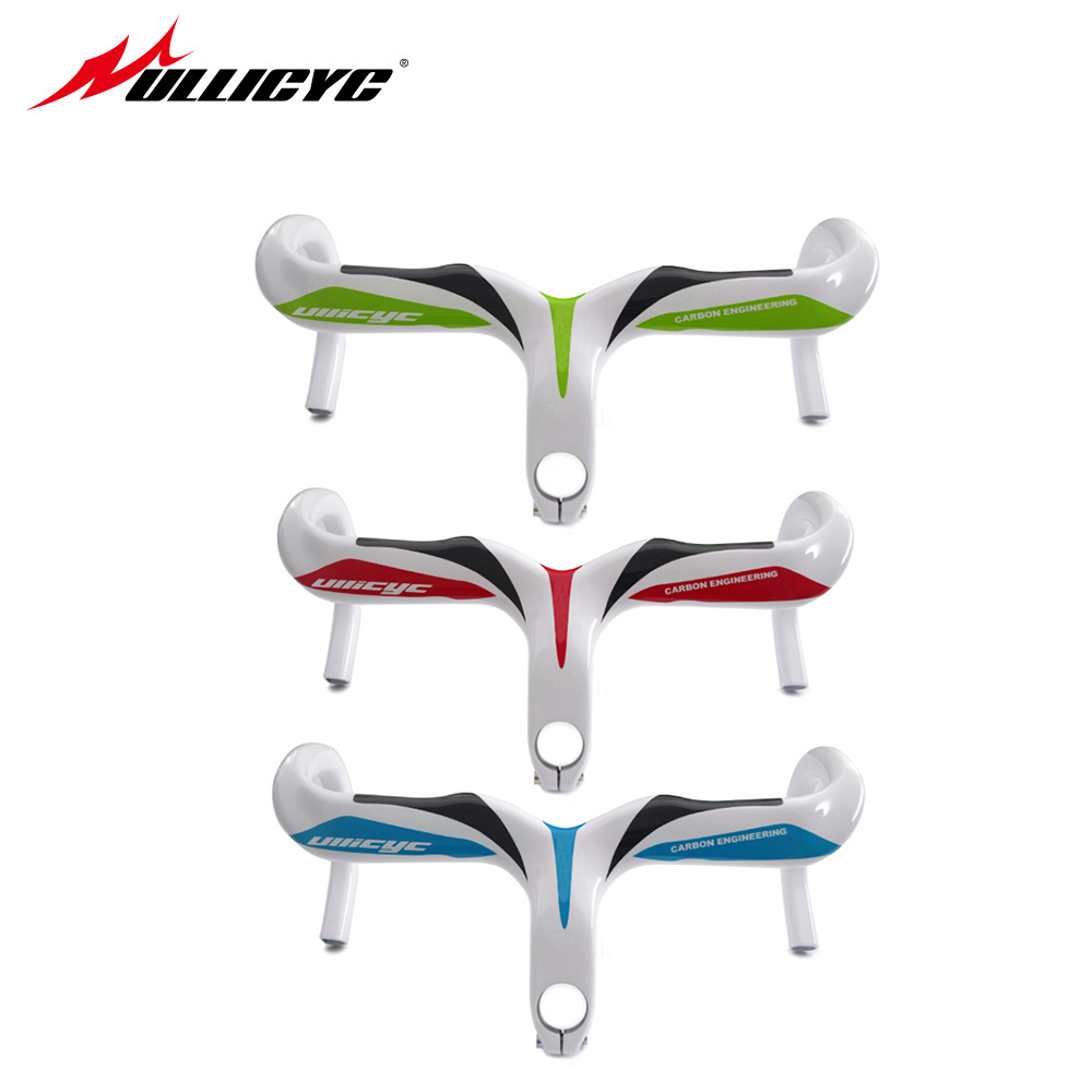 Ullicyc Full Carbon Fiber Road Bicycle Integrated Road Handlebar WithThree Color Bike Parts 28.6mm Free Shipping YT574 bended carbon fiber one highway full carbon fiber road bike handlebar highway bicycle handle carbon road handlebar bike parts