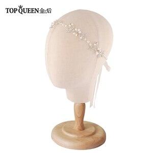 Image 2 - TOPQUEEN HP152 ślubne dla nowożeńców z pałąkiem na głowę opaska do włosów Tiara dla kobiet Rhinestone pereł stop kwiat biżuteria akcesoria do włosów