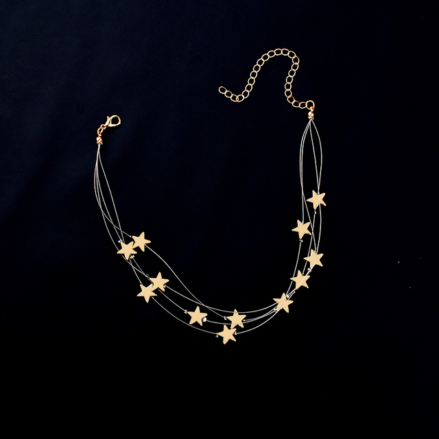 Multiple Layer Stars Choker Necklace