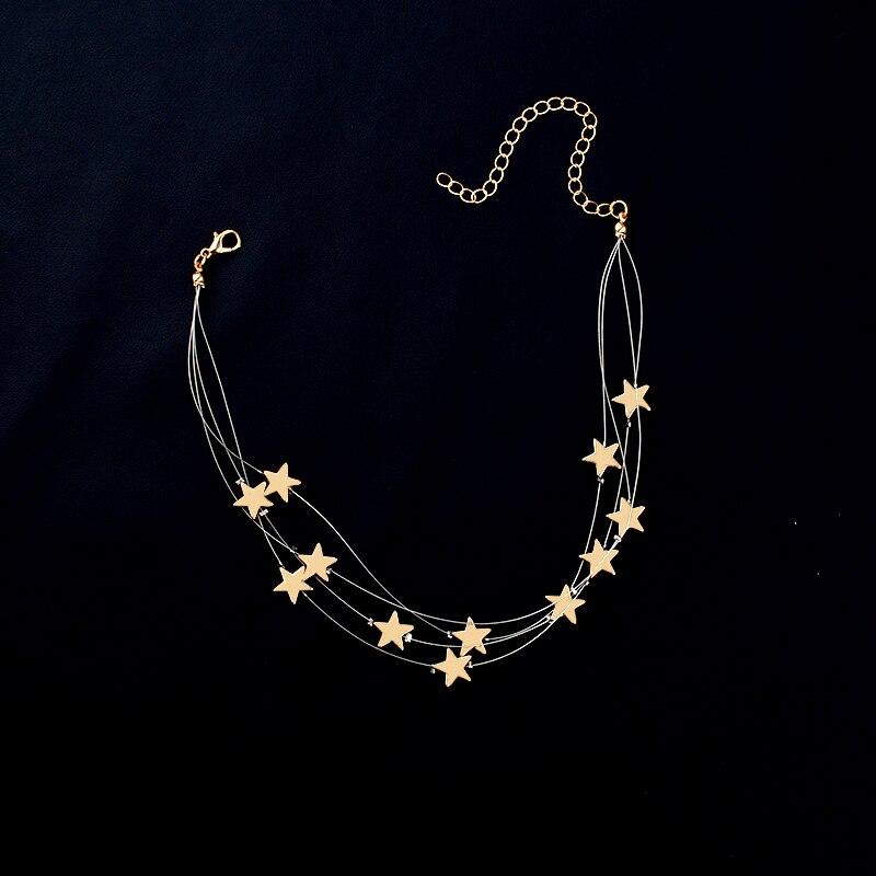Multiple Layers Copper Stars Pendant Choker Necklace s