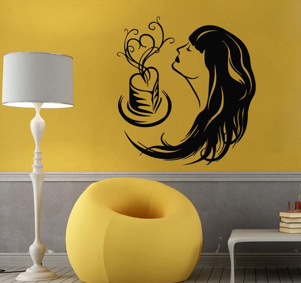 ᓂWall Decals Vinyl Decal Sticker Art Mural Love Decor Girl Smelling ...