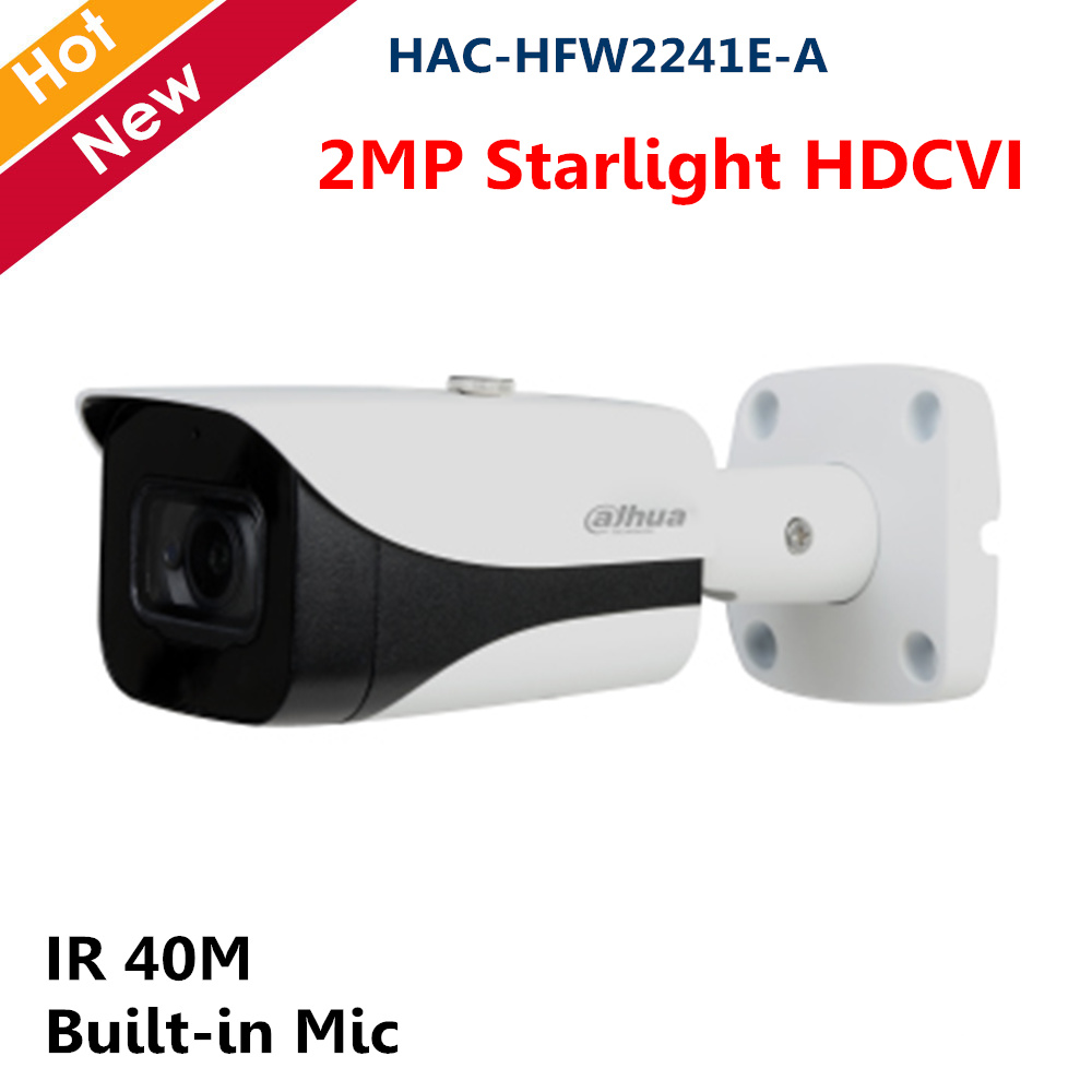 2MP Starlight HDCVI Camera Built-in Mic Smart IR 40M Coaxial Camera Survillance Camera For CCTV System HAC-HFW2241E-A With Logo