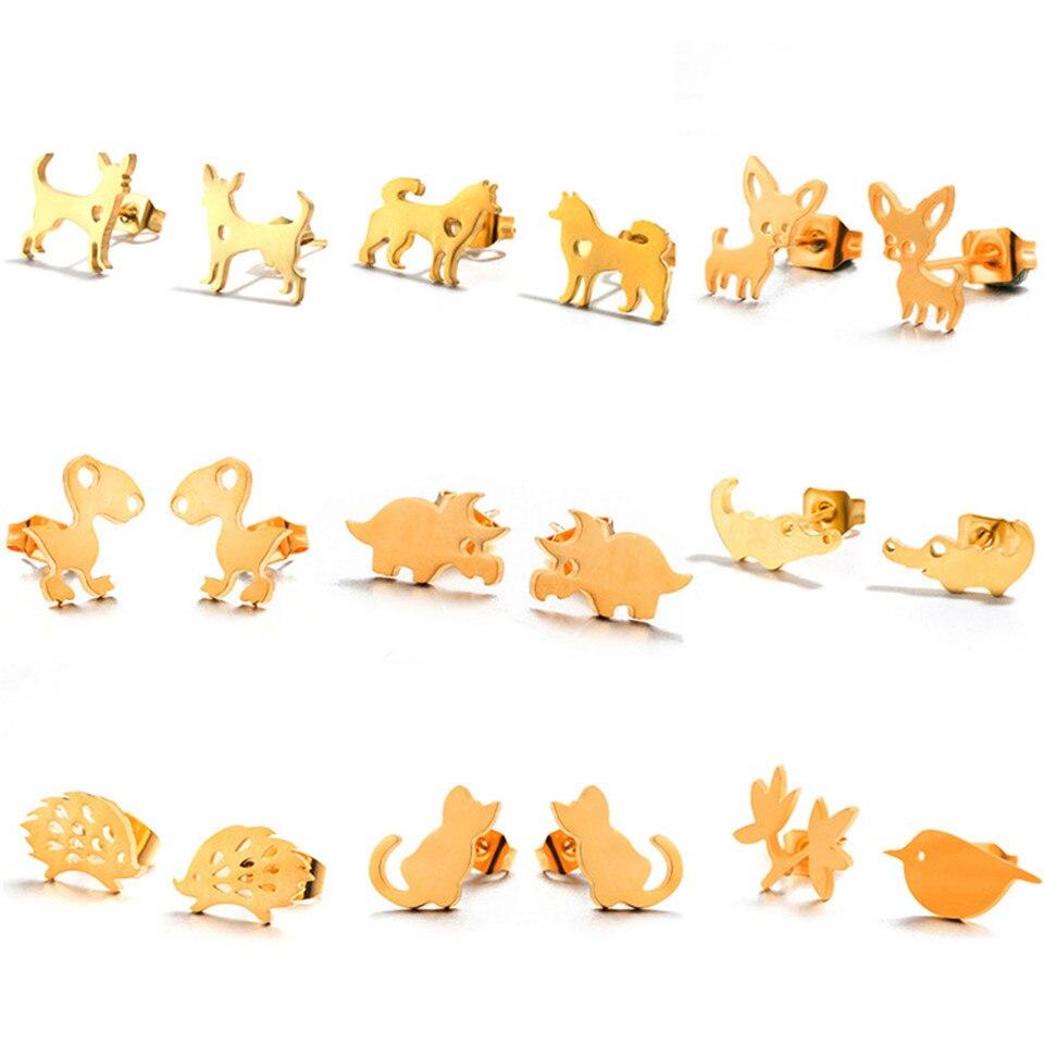 Cute Stainless Steel Stud Earrings Fashion Cartoon Cat Dog Dinosaur Hedgehog Crocodile Birdie Elk Animal Earrings For Women