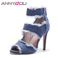 ANNYMOLI Peep Toe Gladiator Shoes Women Pumps Denim High Heels Cutout Stiletto Zip Thin Heels Party Shoes Blue Large Size 33 43