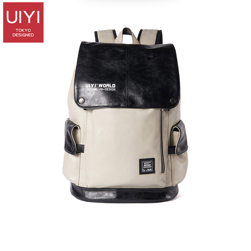 College wind backpack men's backpack Korean travel bag fashion computer bag tide leather casual male