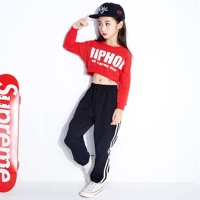 b659ebc59 Hip Hop Jazz Dance Costume Girls Street Dance Clothing Kids Red Long  Sleeved Tops Black Pants Contemporary Dance Costumes DN1753