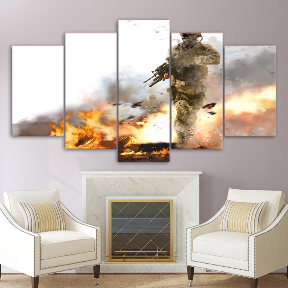 Pictures Frame HD Living Room Printed Modern Canvas 5 Panel Trees Battlefield Soldier Armed Home Decor Wall Art Painting Modular