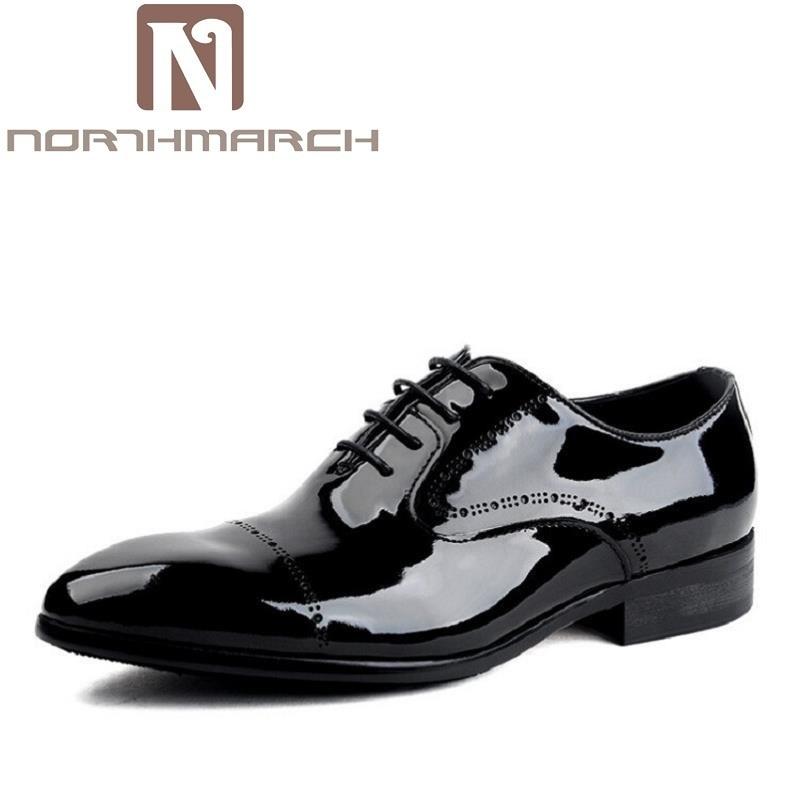 Pontas Sapatos Cuir Oxford Verdadeiros Northmarch Dedo Dos Pé De Couro Chaussures Hommes Homens Patente Do Se Vestem Formal Preto Negócios TYBxqwnp8d