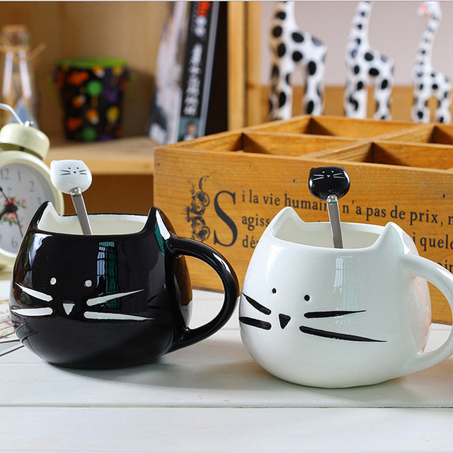 White Black Cat Coffee Cup With Spoon Ceramic Lovers Mugs Set