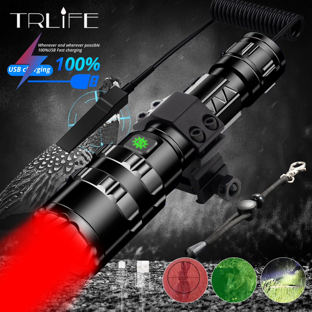 Hunting Flashlight Red Green Scout Light 1 Mode Professional Tactical LED Flashlight USB 18650 Waterproof Night For Hog Coyote