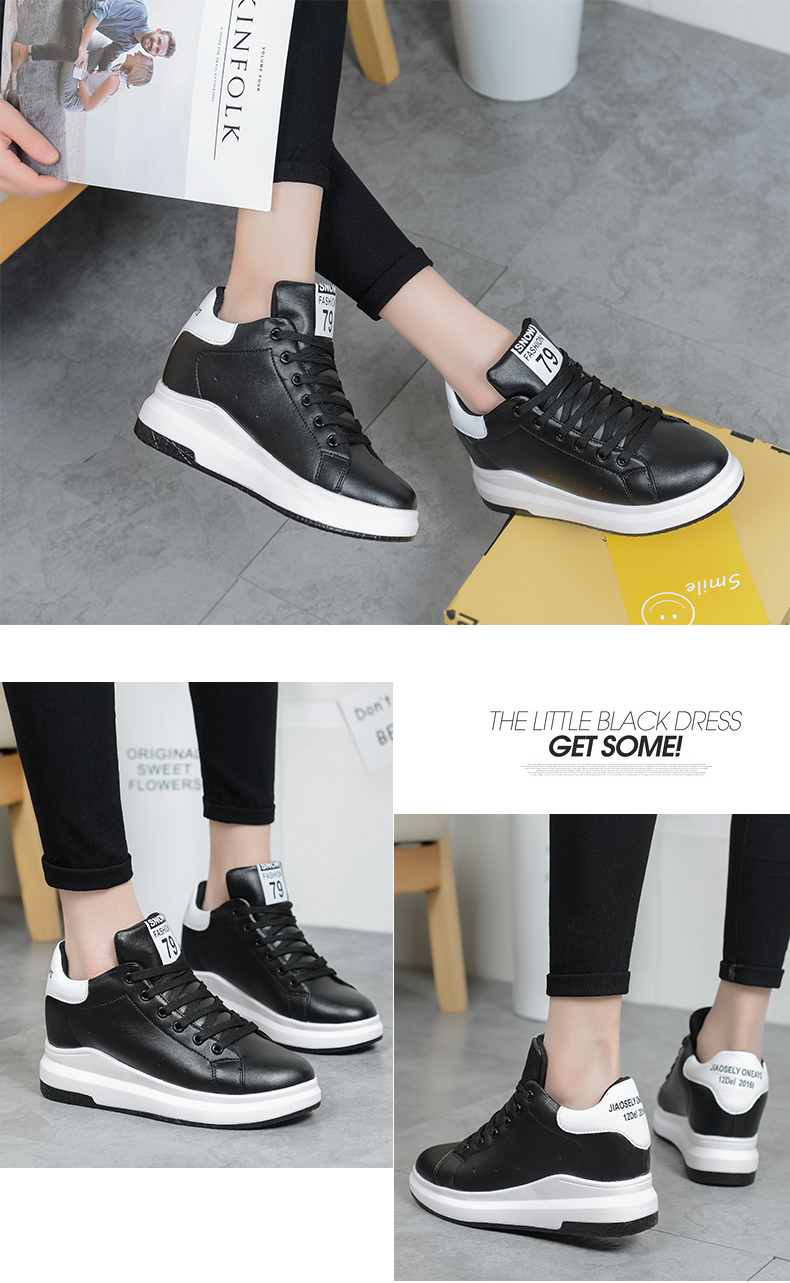 Hide Heel Wedge Leather Casual Shoes Woman 2017 Fashion Spring Lace Up Ladies Shoes Breathable Women White Shoes Superstars ZD39 (17)