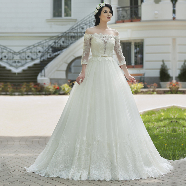 Aliexpress.com : Buy Ivory Modest Lace Wedding Gowns With 3 4 ...