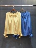 Новинка 2019 года шелк длинный рукав лук воротник сплошной 2 цвета 4 Размеры женская рубашка