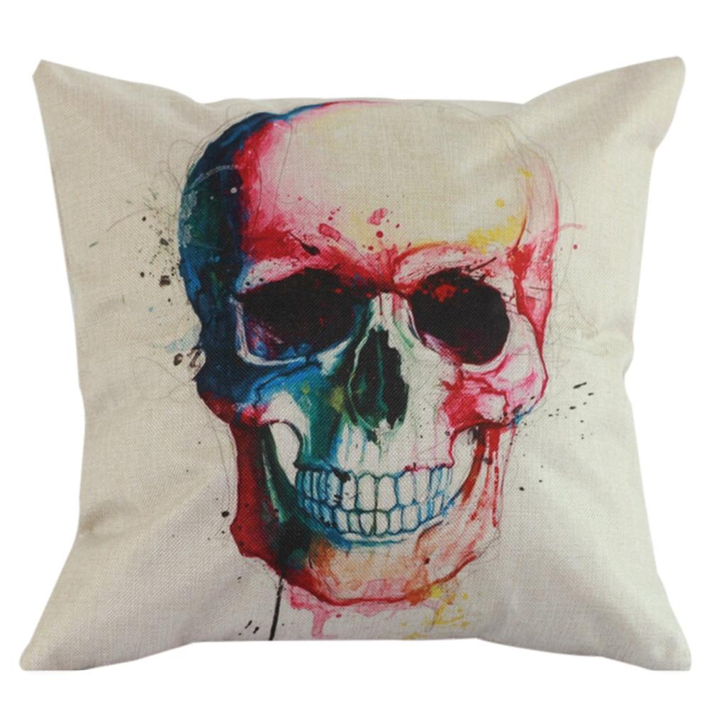 Home Textiles Horrible Skull Square Pillow Cover Case Pillowcase Scary Cotton Linen Thro ...