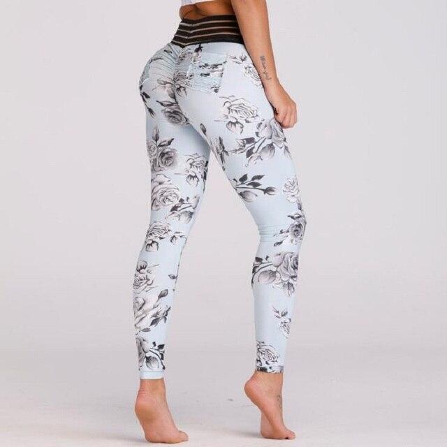 9abb740d1fe6e5 New Sexy Lace Splicing Waist Leggings Women Print Pocket Workout Clothes  Push Up Fitness Female Elastic Slim Pants Leggins